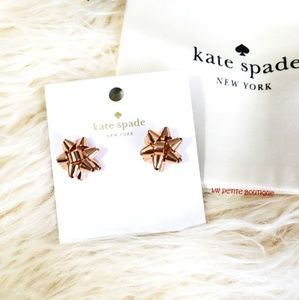kate spade Jewelry - Kate Spade Rose Gold Bow Earrings